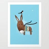 Happy Donkey Art Print