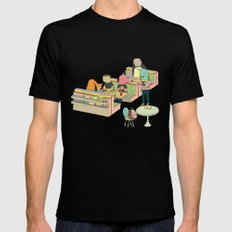 eating at johnny´s Mens Fitted Tee Black SMALL
