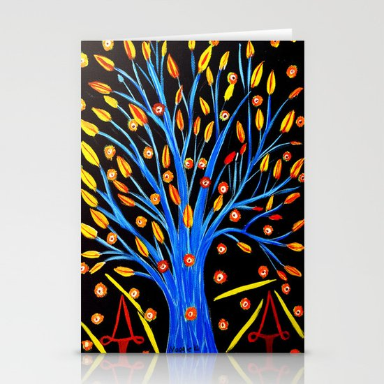 Blue tree/abstract Stationery Card