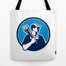 Plumber Holding Pipe Wrench Circle Retro Tote Bag