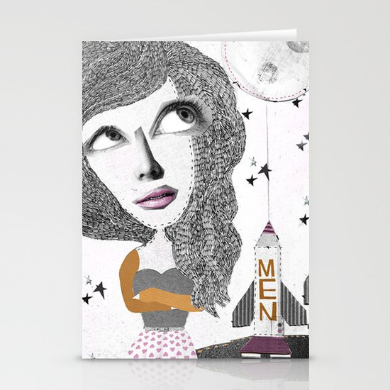 If we can put one man on the moon... why not them all? Stationery Card
