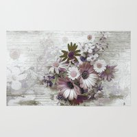 Daisies on Worn Wood Rug