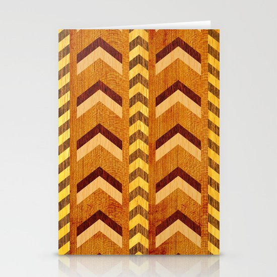 Wood Inlaid Chevrons Stationery Card