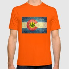 Retro Colorado State flag with the leaf - Marijuana leaf that is! Mens Fitted Tee Orange SMALL
