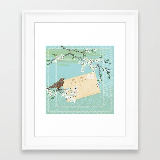 Sketchy Illustration  - Robin And Cherry Blossoms In Spring Framed Art Print