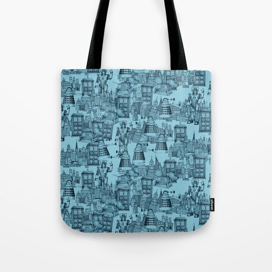 Doctor Who Toile de Jouy | 'Walking Doodle' | Turquoise Tote Bag