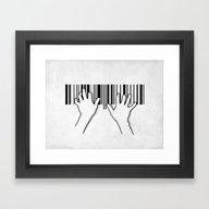 Barcode Pianist Framed Art Print