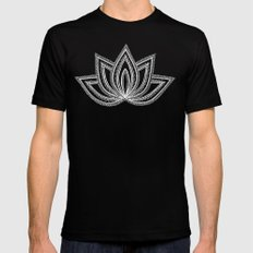 Decorative Lotus Flower - Sea Foam Blue Mens Fitted Tee Black SMALL