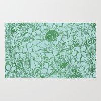 Blue square, green floral doodle, zentangle inspired art pattern Rug