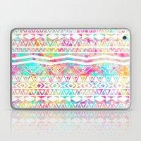 Aztec Splash | White Tribal Abstract Aztec Neon Rainbow Splatters Laptop & iPad Skin