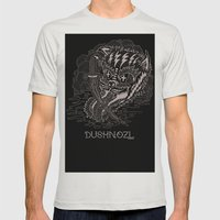 DUSHNOZLE DEADCAT Mens Fitted Tee Silver SMALL
