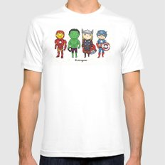 Super Cute Heroes: Avengers! White SMALL Mens Fitted Tee