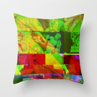 Poseidon Glitch 01 Throw Pillow