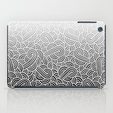 Ombre black and white swirls doodles iPad Case