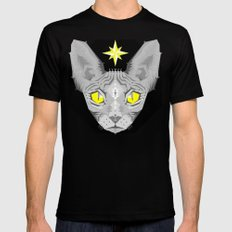 Sphynx Cat Black Pattern Mens Fitted Tee Black SMALL