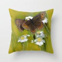 Summery Butterflies on Gold Throw Pillow