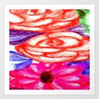 Roses And Daisies Art Print