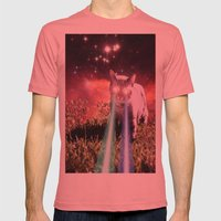 Mega Space Cat Rising Mens Fitted Tee Pomegranate SMALL