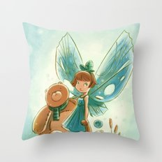 Goblins Drool, Fairies Rule! - Baby Blue Throw Pillow