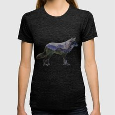 The Rocky Mountain Gray Wolf Womens Fitted Tee Tri-Black SMALL