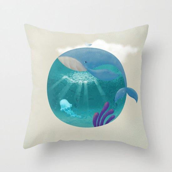 Whale & Jellyfish Throw Pillow