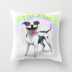 I Love Pitbulls Throw Pillow