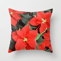 Beautiful Red Poinsettia… Throw Pillow