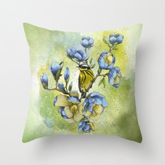 Magnolia Blues Throw Pillow