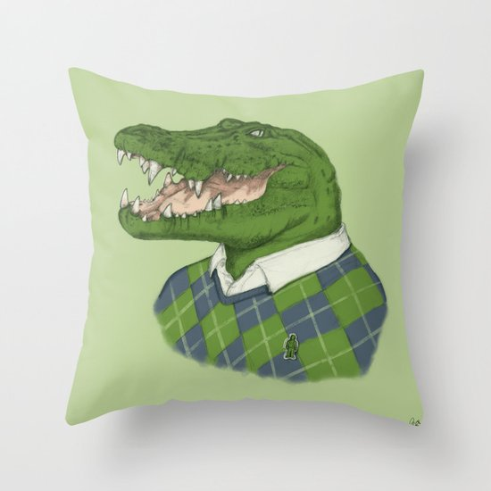 Argyle Crocodile Throw Pillow