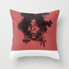 Basquiat botanical portrait Throw Pillow