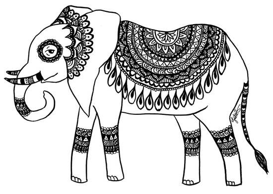 henna doodle art zentangle elephant