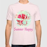 Pretty Pink Summer Flowe… Mens Fitted Tee Light Pink SMALL