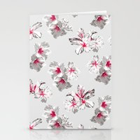 Hibiscus Grey Stationery Cards