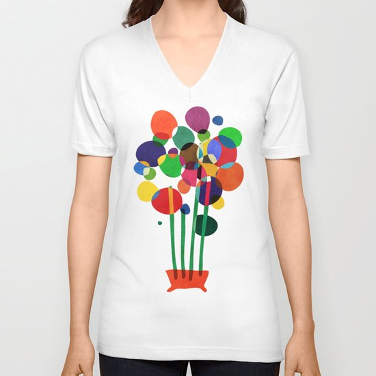 Happy flowers in the vase V-neck T-shirt