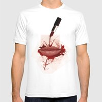 RED LIPS!  Mens Fitted Tee White SMALL