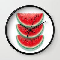 Slices of watermelon Wall Clock