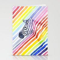 Rainbow Zebra Pattern (square) Stationery Cards