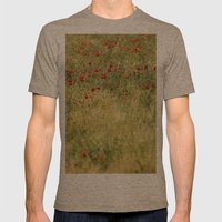 Red Poppies At The Field… Mens Fitted Tee Tri-Coffee SMALL