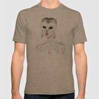 The Masquerade: The Owl Mens Fitted Tee Tri-Coffee SMALL