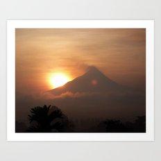 Sunrise over the volcano Art Print