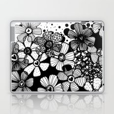 Black and White Abstract Flowers Laptop & iPad Skin