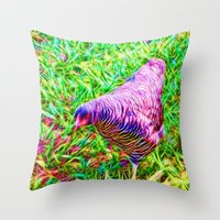 Hen On Grass Throw Pillow