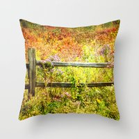 Split Rail and Fall Textures Throw Pillow