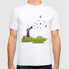 singing birds Mens Fitted Tee Ash Grey SMALL