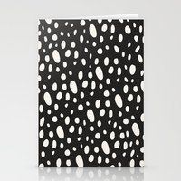Bohemian Pebbles - Dark gray and cream dot pattern Stationery Cards