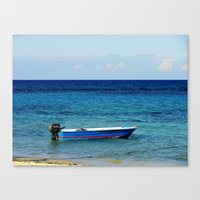 Blue Boat Red Stripe In … Canvas Print