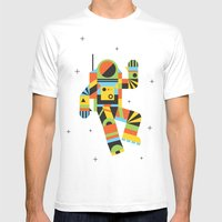 Hello Spaceman Mens Fitted Tee White SMALL