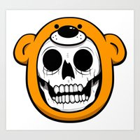 Alfredo Monster Skull Bear Hat  Art Print