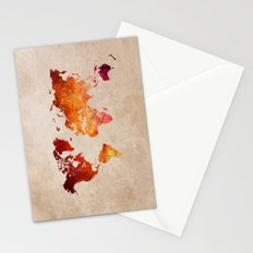 Red World Map Stationery Cards