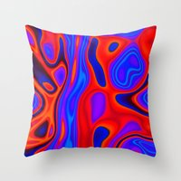 Blue Purple and Red Abstract Throw Pillow